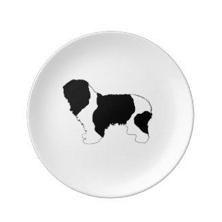 color polaco del silo del perro pastor de la plato de porcelana