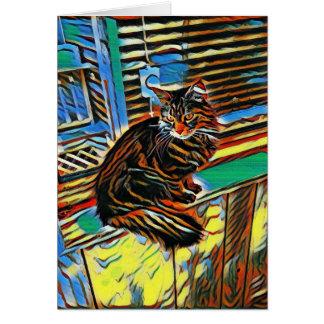 Color por el gatito del diseño tarjeta de felicitación