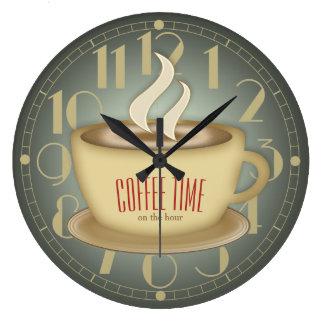 Color retro divertido del personalizado del tiempo reloj redondo grande