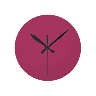 Color rosado oscuro 1 reloj redondo mediano