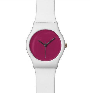 Color sólido rojo violeta relojes de pulsera