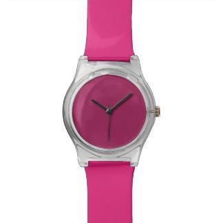 Color sólido rojo violeta reloj de mano