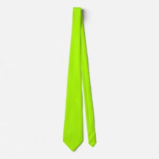 Color sólido verde fluorescente corbata