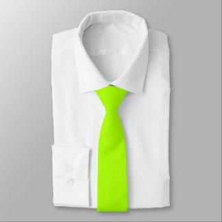 Color sólido verde fluorescente corbata fina