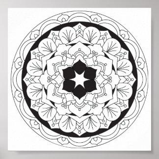 Color-Su-Propia mandala floral 060517_4 Póster