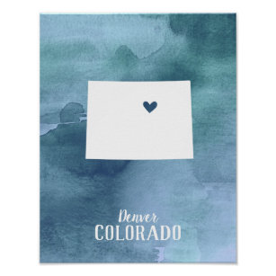 Colorado Map Blue Watercolor Arte Personalizado