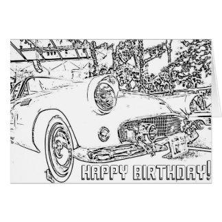Colorante adulto, coche antiguo, tarjeta del feliz