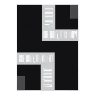 ColorCorner negro/gris del cumpleaños (MB) Invitación 12,7 X 17,8 Cm