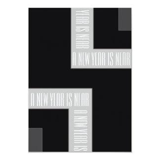 """""""ColorCorner negro/gris del fiesta del Año Nuevo"""" Invitación 12,7 X 17,8 Cm"""