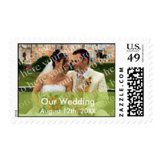Coloree el boda de encargo de la foto de la verde franqueo