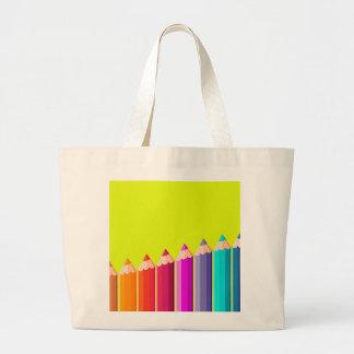 Coloree el bolso del jumbo de los lápices bolsa tela grande