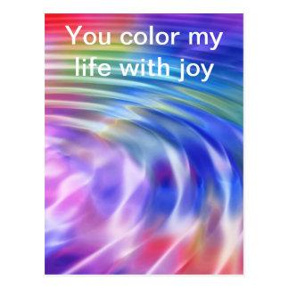 Coloree mi vida con alegría postal