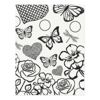Coloree su propia flor de mariposa de la postal