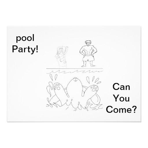 Coloree su propia pieza de la piscina invitan anuncio personalizado