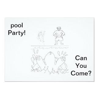 Coloree su propia pieza de la piscina invitan invitación 12,7 x 17,8 cm