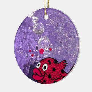 Coloree sus pescados del baño de los niños del mun ornamento de navidad