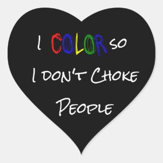 Coloreo así que no obstruyo a los pegatinas de la pegatina en forma de corazón