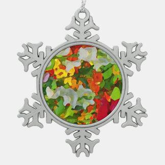 Colores alegres del jardín de flores adorno de peltre en forma de copo de nieve