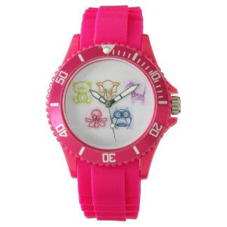 Colores animales reloj de pulsera