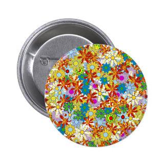 Colores brillantes del estampado de flores moderno chapa redonda 5 cm