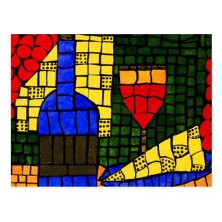 Colores brillantes del vino y del queso postal
