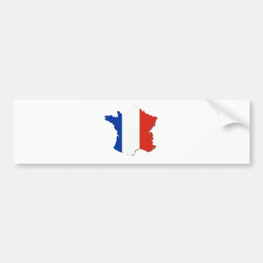 ¡Colores de la bandera de Francia! Etiqueta De Parachoque