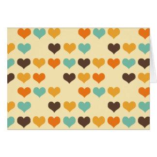Colores de los corazones del vintage tarjeta de felicitación
