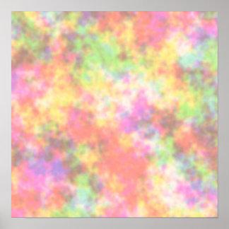 Colores del arco iris. Bonito, nubes coloridas Póster