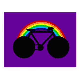 colores del arco iris de la bicicleta tarjetas postales