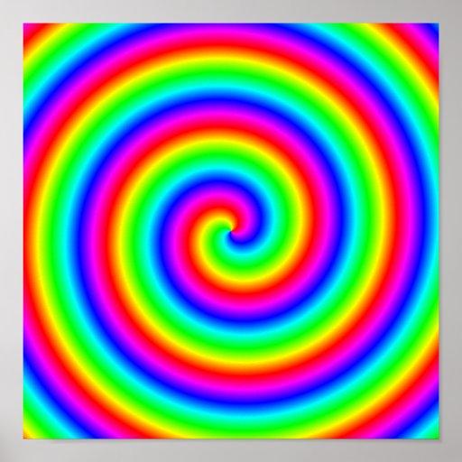 Colores del arco iris. Espiral brillante y colorid Posters