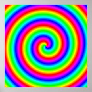 Colores del arco iris. Espiral brillante y colorid Póster