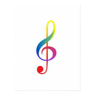 Colores del clef agudo del flujo del arco iris postal