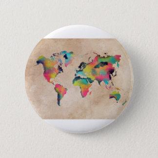 colores del mapa del mundo chapa redonda de 5 cm