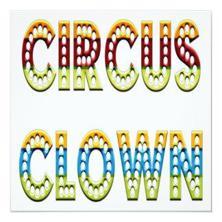 Colores del payaso de circo invitación 13,3 cm x 13,3cm