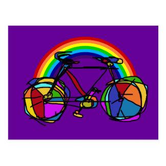 colores frescos de la bicicleta del arco iris tarjetas postales