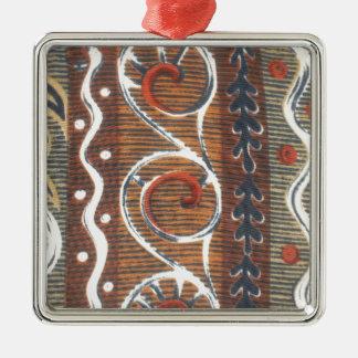 Colores tradicionales del vintage africano adorno cuadrado plateado
