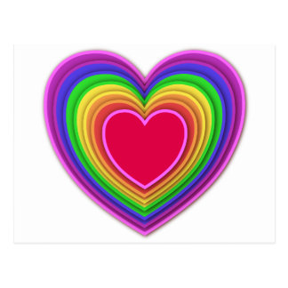 Colores tridimensionales acodados del arco iris de postal