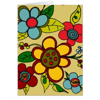 Colores urbanos de las flores retras tarjeta de felicitación