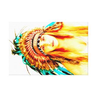 Colores vibrantes del guerrero indio impresion en lona