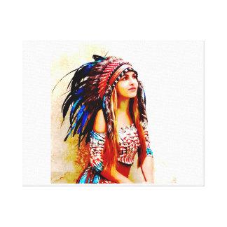 Colores vibrantes del guerrero indio lienzo envuelto para galerias