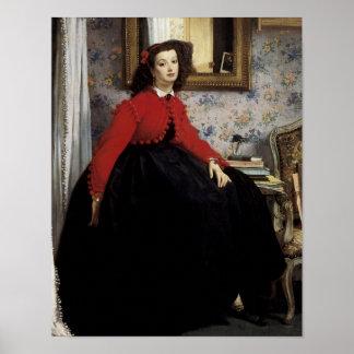 Colorete del en Veste de Portrait de Jeune Femme Póster