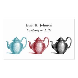 Colorful Retro Teapots Custom Personal or Company Tarjetas De Visita