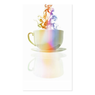 Colorful steaming coffee cup tarjeta personal