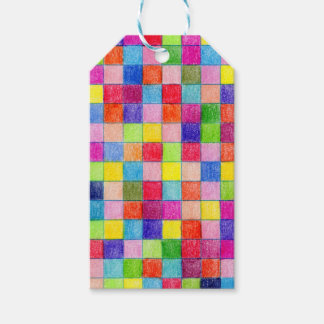 Colorido coloreado en cuadrados del papel etiquetas para regalos