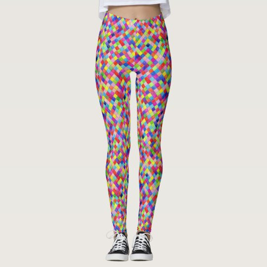 Colorido coloreado en cuadrados del papel leggings