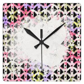 Colorido de forma diamantada cruzado de Criss Reloj Cuadrado