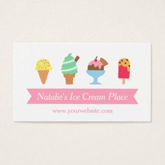 Colorido, elegante, negocio de la sala de helado tarjeta de negocios