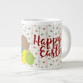 Colorido lindo de los polluelos florales retros taza de café grande
