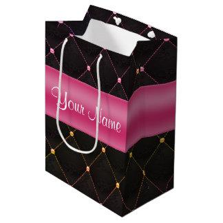 Colorido negro rosado acolchada moda personalizado bolsa de regalo mediana