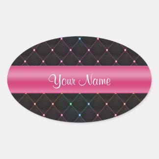 Colorido negro rosado acolchada moda personalizado pegatina ovalada